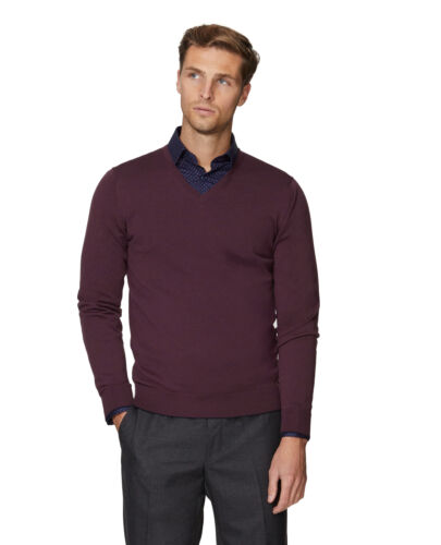 T.M.Lewin Mens Merino Wool Plum V-Neck Slim Fit Jumper