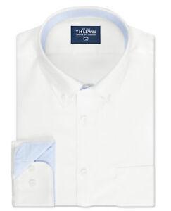 T-M-Lewin-Para-Hombre-Royal-Oxford-Calce-Ajustado-Camisa-Blanca-Brazalete-De-Una-Sola