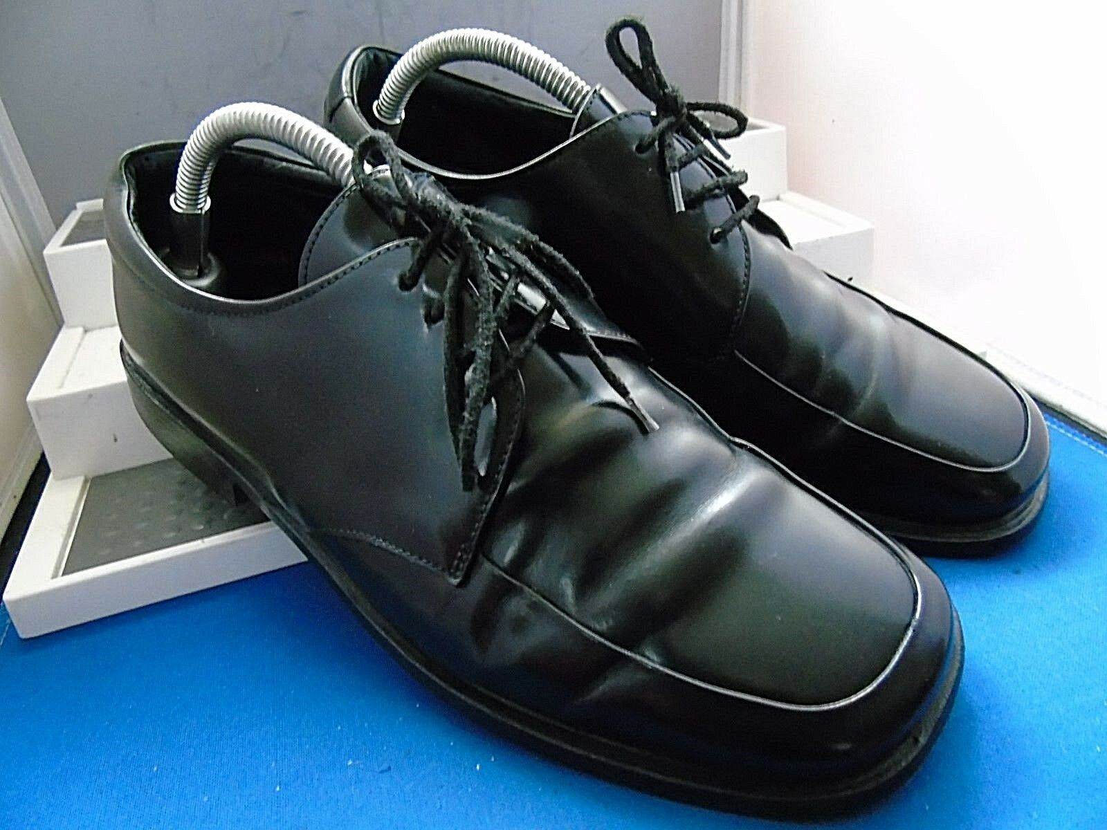 PRADA PRADA PRADA DESIGNER BLACK LEATHER TWIN DERBY WORK Schuhe UK 6.5 EU 40.5 US 7.5 7cf455