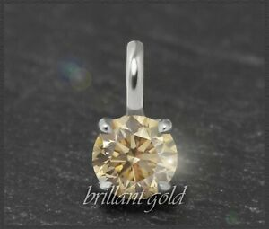 Diamant-Solitaer-Damen-Anhaenger-585-Gold-Brillant-0-53ct-zart-champagner-VVS
