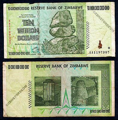 10 x 10 Trillion 50 Trillion Zimbabwe Dollars Banknotes AA 2008 = 100 Trillion