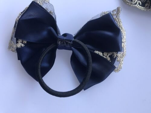 Girl Lady School Satin Ribbon bow Lace Ponytail Hair Elastic band Scrunches tie