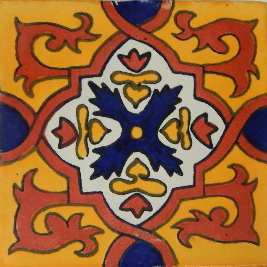 100 Mexican Talavera tiles 4x4 Decorative Folk Art Handmade C120