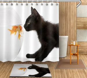 "Goldfish and Black Cat Shower Curtain Set 71X71"" Bathroom Fabric Curtains Liner"