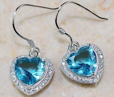 3CT Aquamarine & Topaz 925 Solid Sterling Silver Heart Earrings Jewelry T4-6