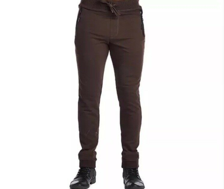 Indigo People Men's Brown Cotton and Polyester Two-zip Joggers