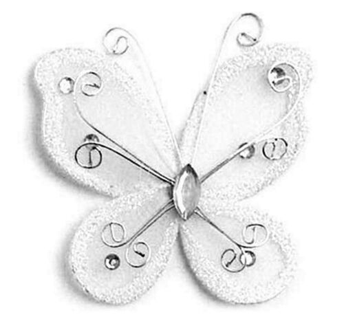 White 2 Butterfly Hair Clips Barrettes Bow with Metal Clip