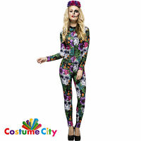 Womens Ladies Mexican Day of the Dead Catsuit Halloween Fancy Dress Costume