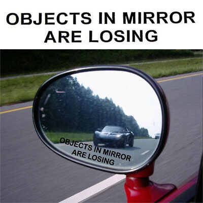 1Pair Black OBJECTS IN MIRROR ARE LOSING Vinyl Decal Rearview Sticker JDM Racing