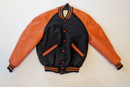 Vintage Delong Black Orange Letterman Varsity Jack
