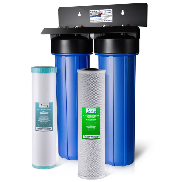 ispring ironmanganese removal whole house water filter big blue 2 stage system - Whole House Water Filtration System