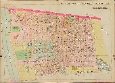 HUDSON COUNTY NEW JERSEY WEST ARLINGTON STATION COPY PLAT ATLAS MAP 1909 KEARNY