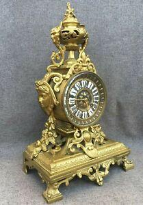 HEAVY ANTIQUE FRENCH 19 siècle Horloge GILDED BRONZE naploeon III FAUN 10 lb (environ 4.54 kg)