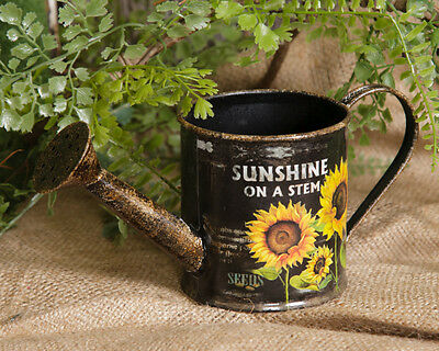 New Primitive Country SUNFLOWER WATERING CAN Bucket Farmhouse Flowers Planter