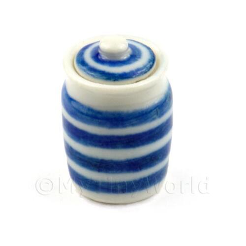 blau//weiß gestreift Puppenhaus Miniatur Vorratsglas