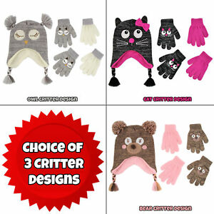 ABG-Accessories-Critter-Design-Hat-and-2-Pair-Gloves-Set-Little-Girls-Age-4-7