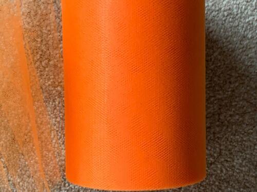 15m de 150mm De Ancho De Nylon Suave Tul Malla De Tela Naranja BODA//Tutú//Crafts
