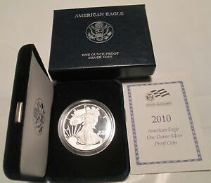 2010-W US MINT American Eagle One Ounce Silver Proof Coin w//Box /& COA