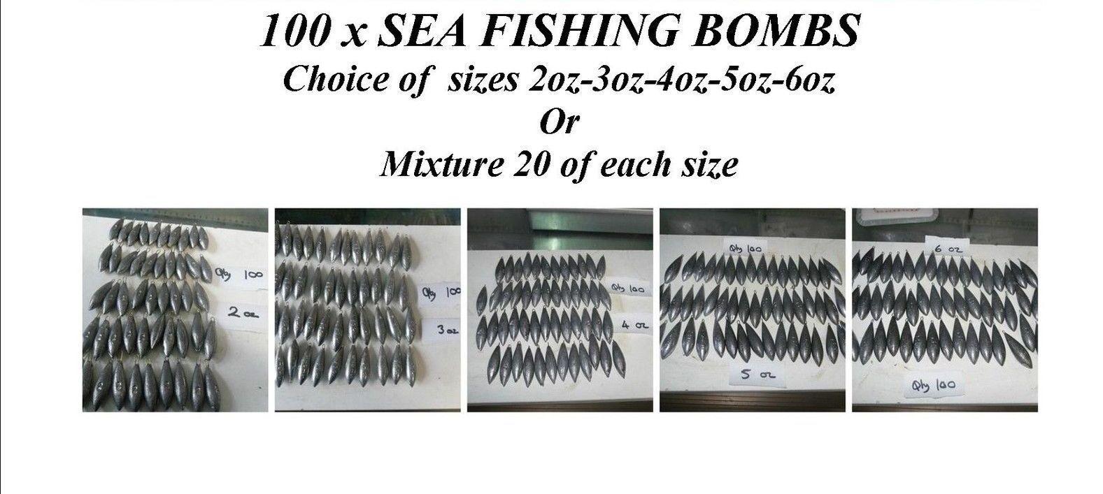 100 x pesca in mare pesi BEACH BOMB 2oz3oz4oz5oz6oz