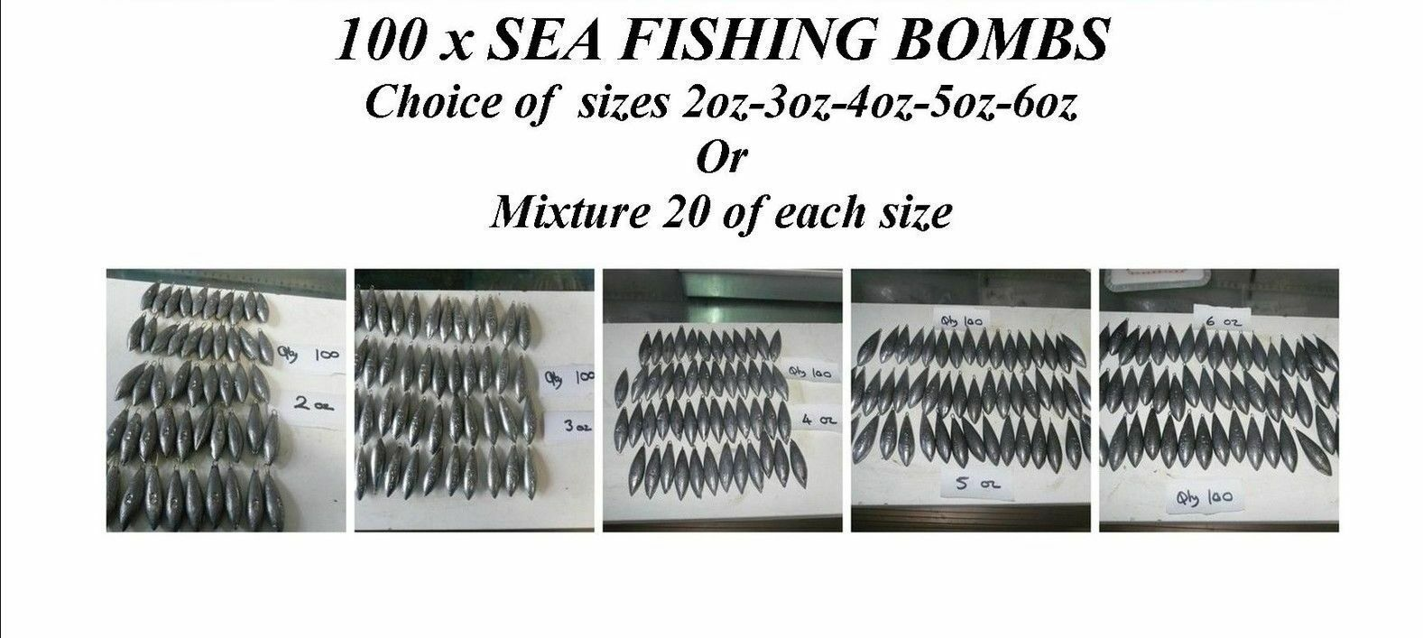 100 x SEA FISHING  WEIGHTS BEACH BOMB 2oz-3oz-4oz-5oz-6oz