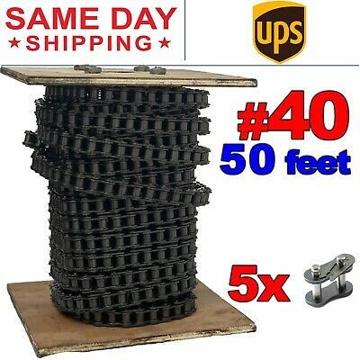 Free Connecting Link #40 Roller Chain x 3 feet Same Day Expedited Shipping