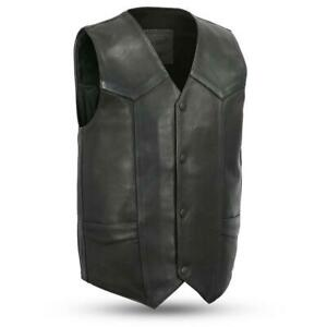 Men-039-s-Tombstone-Leather-Biker-Harley-Conceal-Carry-Motorcycle-Vest-by-First-Mfg