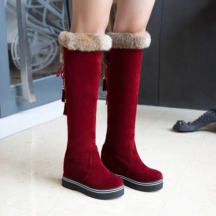 Women Warm Furry Trim Knee High Riding Boots Hidden Heel Strappy Snow shoes Plus