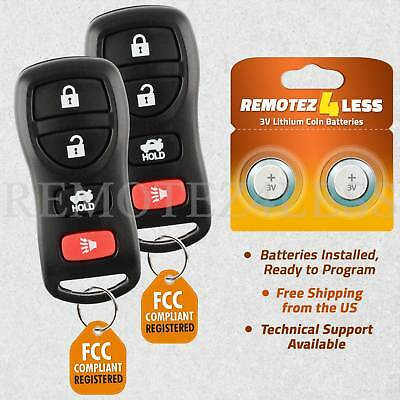 2 New Replacement Keyless Entry 4 Button Remote Car Key Fobs for Select Nissan w//FREE DIY Programming Guide CanadaAutomotiveSupply /©