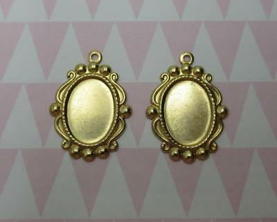 Gold Cameo Frame Bezel Brass Vintage Inspired Qty 4 14X10mm Settings