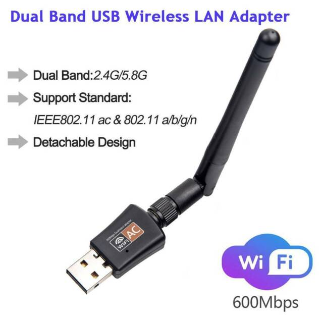 600Mbps 2.4G 5G Dual Band Wireless Lan Network Card USB WiFi Receiver Adapter
