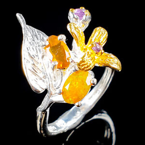One-of-a-kind-Natural-Orange-Opal-925-Sterling-Silver-Ring-Size-5-25-R104578