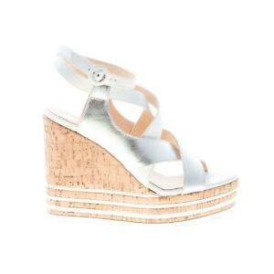 HOGAN-scarpe-donna-Sandalo-zeppa-cinturini-incrociati-in-pelle-bianco-argento