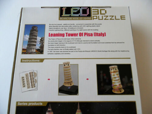 3D Puzzle Schiefer Turm Pisa LED Cubic Fun Italien  Leaning Tower Licht Light