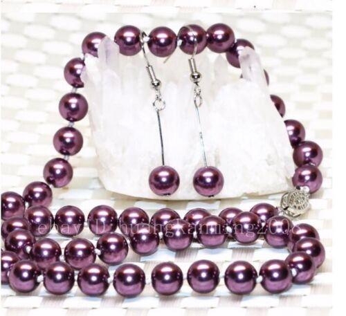 """Long 16/""""18/""""22/"""" 25/"""" 36/"""" 50/"""" 8mm Purple Akoya Shell Pearl Necklace AAA e04"""
