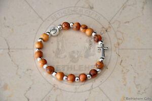 Details About Mini Rosary Bracelet Olive Wood Religious Catholic One Decade Holy Land