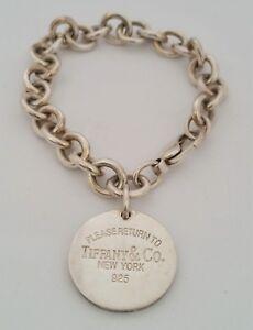 VTG-Tiffany-amp-Co-Return-to-Tiffany-Sterling-Silver-Round-Circle-Tag-Bracelet