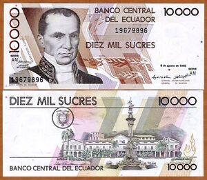 Image Is Loading Ecuador 10000 10 000 Sucres 1995 P 127