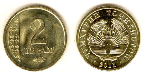 TAJIKISTAN RARE NEW 2 Diram coin 2011//2013 SMALL denomination UNC UNLISTED