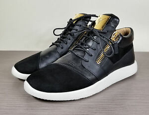 d2118ed9b2fe8 Giuseppe Zanotti Side Zip Sneaker, Black Leather & Suede, Mens Size ...