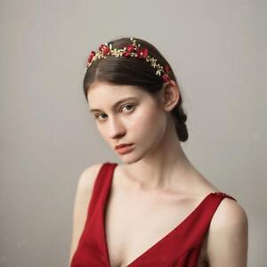 Bridal-Rhinestone-Flower-Tiara-Crown-Hairband-Wedding-Hair-Decor-Wine-Red