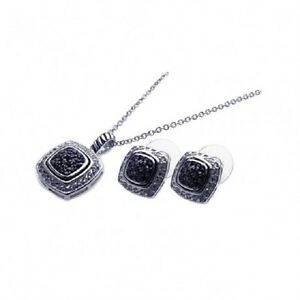 Sterling-Silver-Black-amp-Clear-CZ-Necklace-amp-Earrings-Set