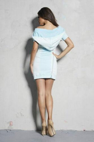 Minikleid menta Longshirt Felpa Jeanskleid Rosa Damen S M Foggi con cappuccio Damenkleid Jeans VpqzLSGUM