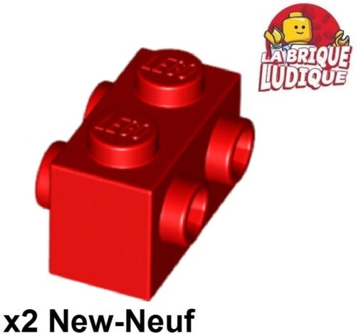 Lego 2x Brique Brick Modified 1x2 Studs on 2 Sides rouge//red 52107 NEUF