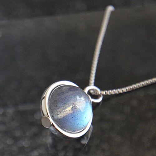 Handmade S925 Sterling Silver Labradorite Chain Pendant Necklace Jewelry GiUULK