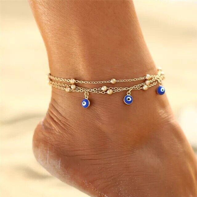 14k Gold Womens Plated Turkish Evil Eye Anklet & Bracelet - Adjustable - Nazar