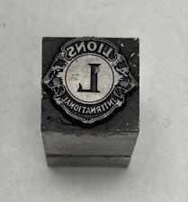 Vintage Letterpress Printers Block Lions International Zinc Plate Solid Metal