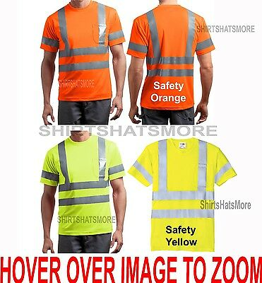 ANSI Mens Class 3 Wicking Snag Resistant Safety Pocket T-Shirt Reflective XS-4XL