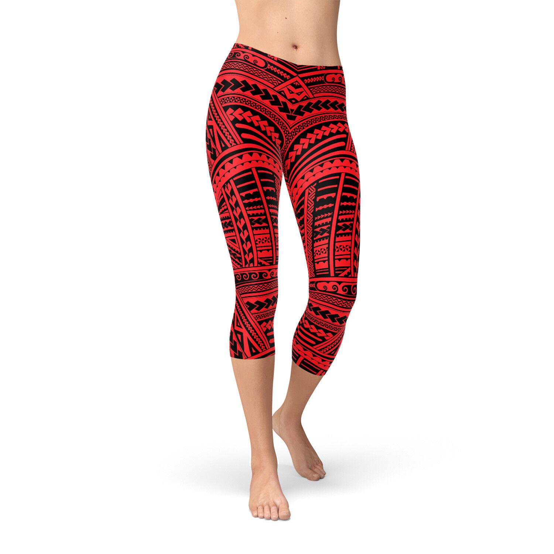 Maori Tattoo Capri Leggings - Womens Red Capri Pants w Tribal Polynesian Ta Moko