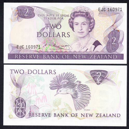 NEW ZEALAND 2 Dollars Russell P 170b QEII Note GEM  UNC $2