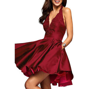 4c75ae19d72 Satin Short Prom Cocktail Homecoming Dresses V-Neck Halter A-Line ...